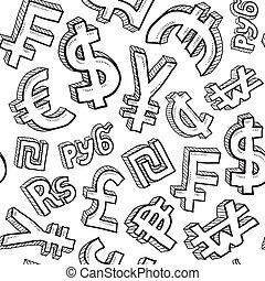symbole monétaire, seamless, fond