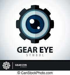 symbole, oeil, engrenage, icône