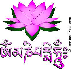 symbole om, mantra, fleur, lotus