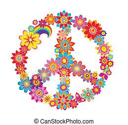 symbole, paix, fleur, coloré