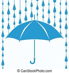 symbole, pluie, vecteur, protection, gouttes, parapluie