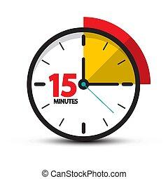 symbole, quinze, arrière-plan., vecteur, minutes, horloge, minute, icon., isolé, blanc, 15