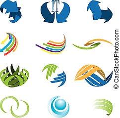 symbole, résumé, différent, espèce, ensemble, icône