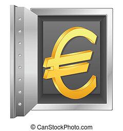 symbole, sûr, banque, or, euro