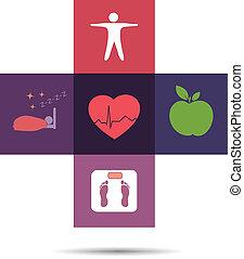 symbole, santé, croix, coloré, soin