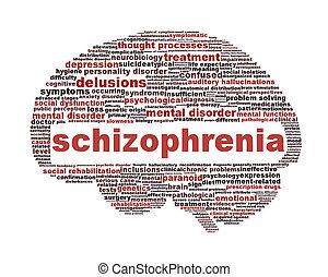 symbole, schizophrénie, blanc, isolé