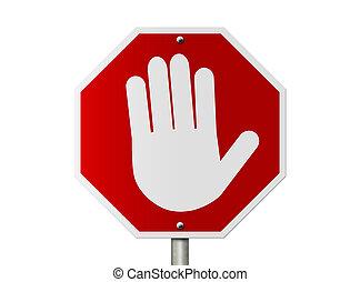 symbole, signe, arrêt, main