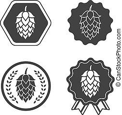symbole, signe, bière, métier, houblon, étiquette