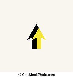 symbole, signe jaune, vecteur, flèche noire, logo