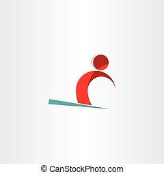 symbole, skieur, homme neige, ski