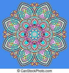 symbole, spirituel, indien, décoratif, cercle, mandala, lotus, couler