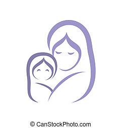 symbole, stylisé, bébé, vecteur, mère, icône