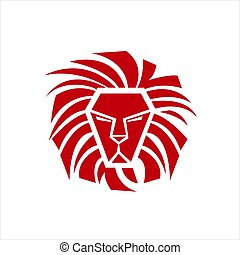 symbole, tête, fierté, graphique, lion, élément, signe, rouges, vecteur, puissance, logo