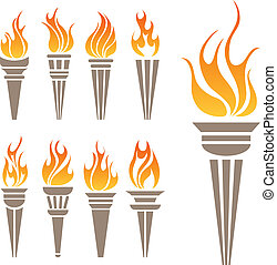 symbole, torche, ensemble