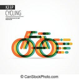 symbole, vélo, coloré, icône
