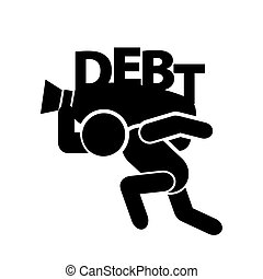 symbole, vecteur, dette, homme