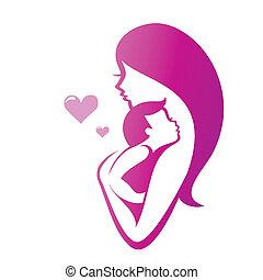 symbole, vecteur, mère, fils