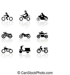 symbole, vecteur, moto, set.