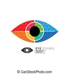 symbole, vecteur, oeil, diamant