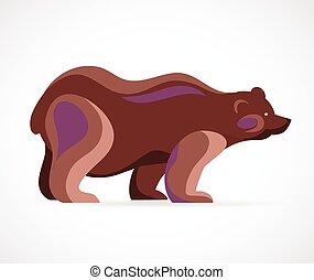 symbole, vecteur, -, ours, illustration