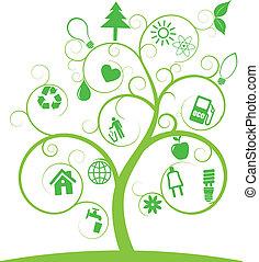 symboles, écologie, arbre, spirale