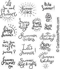 symboles, été, lettrage
