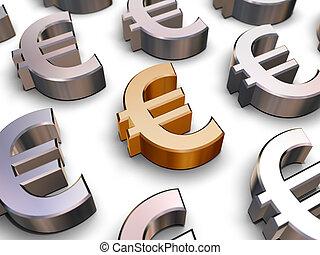symboles, 3d, euro