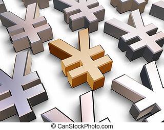 symboles, 3d, yen