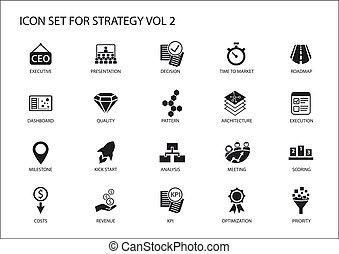symboles, aimer, revenu, stratégie, icône, stratégique, sujets, divers, set., optimization, coûts, étape importante, tableau bord, prioritization