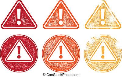 symboles, alerte, grunge, icône