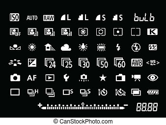 symboles, appareil photo, paramètres