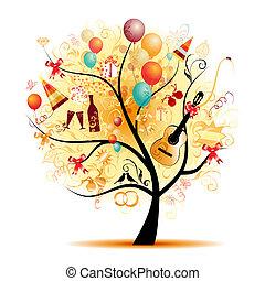 symboles, arbre, heureux, célébration, vacances, rigolote