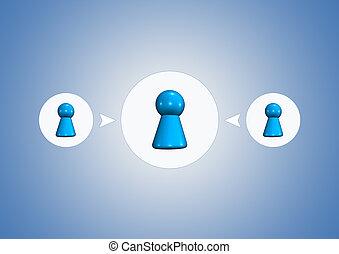 symboles, arrière-plan bleu, équipe