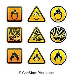 symboles, avertissement, ensemble, danger