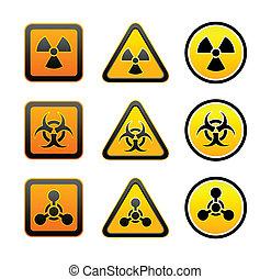 symboles, avertissement, ensemble, radiation, danger