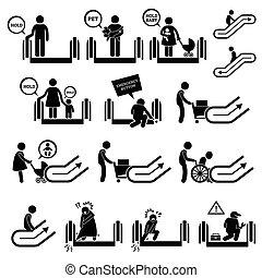 symboles, avertissement, escalator, signes