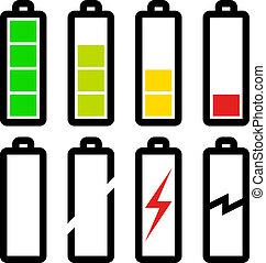 symboles, batterie, vecteur, niveau