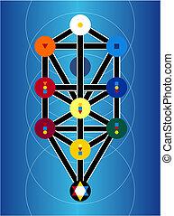 symboles, cabala, arrière-plan bleu, juif