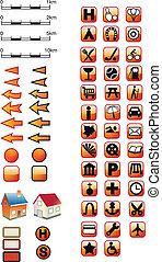 symboles, carte, rouges