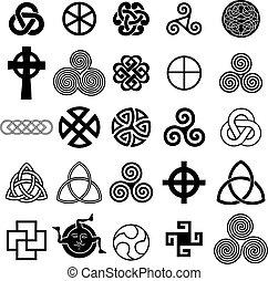 symboles, celtique, ensemble, vector., icônes