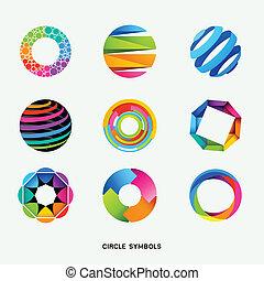 symboles, cercle, conception, collection