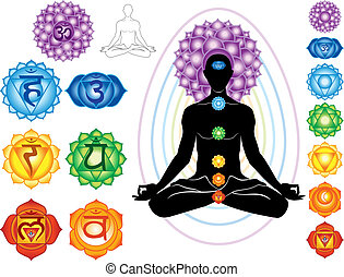 symboles, chakra, silhouette, homme