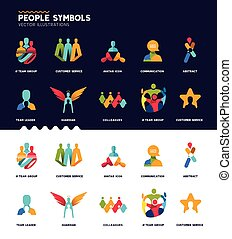 symboles, collection, gens