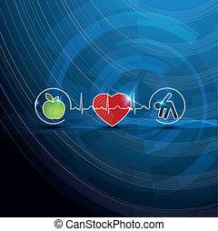 symboles, concept, cardiologie, sain, clair, vivant