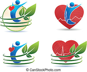 symboles, concept, coeur, sain, santé, humain, soin
