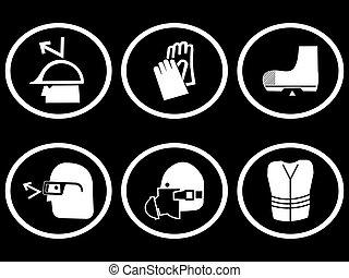 symboles, construction, sécurité, site