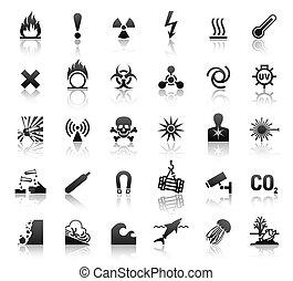 symboles, danger, noir, icônes