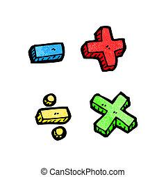 symboles, dessin animé, math