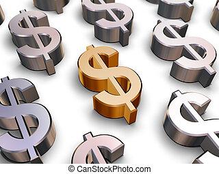 symboles, dollar, 3d