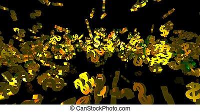 symboles, doré, arrière-plan., noir, 3d, finance, événement, tomber, dollar, render